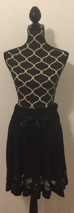 Joe Benbasset Women's Dressy Black Skirt w/Lace Hem Size Medium Satin Bow Waist #JoeBenbasset #ALine