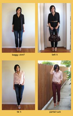 Re-mixing your clothes. She has so many great tips for tweaking outfits! I couldn't decide which to pin!