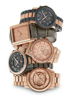 michael kors watches fall 2011 collection. Rose gold and grey make a great color combination