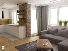 mieszkanie jasne w stylu nowoczesnym/skandynawskim 60m2 - Średni salon z kuchnią z tarasem / balkonem, styl skandynawski - zdjęcie od Grafika i Projekt architektura wnętrz