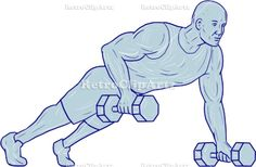Fitness Athlete Push Up One Hand Dumbbell Drawing Vector Stock Illustration.   Drawing sketch style illustration of an athlete working out doing push ups with one hand holding dumbbell set on isolated white background. #illustration   #FitnessAthletePushUp