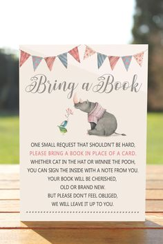 Rhino Bring a book instead of a card, Bring a book with baby shower insert, B . - Rhino Bring a book instead of a card, Bring a book with baby shower insert, Bring a book with baby - Shower Bebe, Baby Shower Fun, Baby Shower Gender Reveal, Baby Shower Parties, Baby Shower Book Theme, Baby Shower Ideas Books, Book Shower, Baby Shower Crafts, Baby Shower Neutral