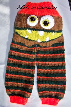 hand knit monster pants in brown/green/orange