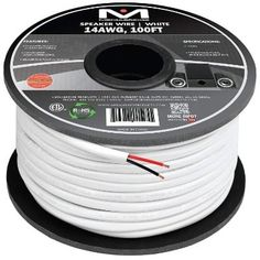 Mediabridge 14AWG 2-Conductor Speaker Wire (100 Feet, White)