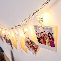 Gledto Guirlande Lumineuse Photo: LED Guirlande avec 20 Pince lumineuse en lumière blanche chaude. 2.2 mètres au total , 10cm entre chaque…