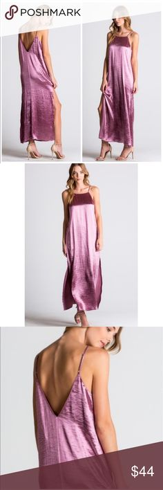 "Deep Mauve Satin Maxi Dress The sexy satin maxi dress. Featuring a deep V back, side slits, adjustable straps.  Soft, flowy and fully lined and made of a poly/satin blend. Certainly a dress to impress. Super nice quality...were extremely impressed with this dress. Model is 5'6"" tall and wearing the small.                         Small  Bust 36 Hips 46 Length 55 Size Slit length 25  Medium  Bust 40 Hips 48 Length 57 Size slit length 26  Large  Bust 42 Hips 48 Length 58 Size slit length 26…"