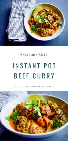 Another perfect weeknight meal brought to you by the instant pot. Beef shanks, root veggies and broccoli are cooked in a rich red curry. Eat it as is or on top of a bowl of rice or cauli-rice. Dairy Free Recipes, Paleo Recipes, Real Food Recipes, Dinner Recipes, Entree Recipes, Gluten Free, Root Veggies, Beef Curry, Instant Pot Pressure Cooker