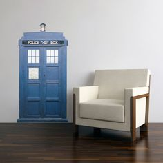 TARDIS Blue Police Box Wall Decal 28 inches wide x 54 inches tall. $48.00, via Etsy.