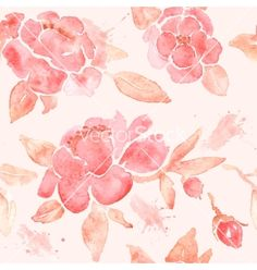 Watercolor seamless wallpaper with peony flowers vector by Baksiabat on VectorStock®