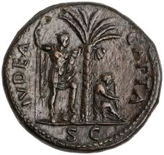 Bronze Sestertius of Vespasian, Rome, AD 71 Coin Design, Ancient Rome, Roman Empire, Silver Coins, Medieval, Bronze, Seals, Antiques, Tattoos