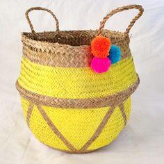 Seagrass Basket // 'Geo Yellow' Australian Fashion, Dumpling, Fashion Labels, Geo, Basket, Yellow, Prints, Handmade, Hand Made