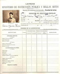Expediente académico de Federico García Lorca, vivo en nuestros #ArchivosVivos #NoSinArchivos http://archi.ugr.es:8080/jopac/registro?id=00090365…