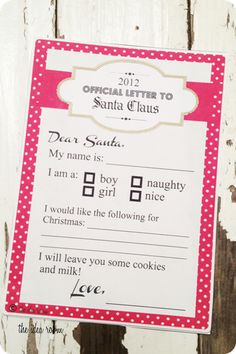 So cute -- letter-to-santa printable @theidedaroom