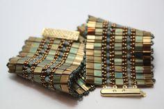 Tila Bead Cuff Bracelet with Swarovski Crystal and Seed Beads. $59.00, via Etsy.