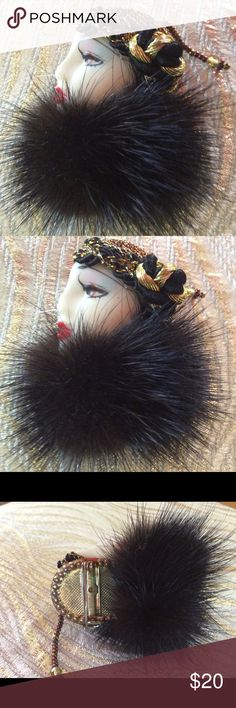 "Vintage Mink Fur Flapper Fashion Lady Brooch Full Mink Fur Ceramic Hand Painted Flapper Lady Brooch. Gold Art Deco trim. Back pin closure. Vintage 1950-1960. 3"" size. Vintage 1950-60 Jewelry Brooches"