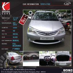 #usedCar for sale  CAR INFORMATION - TOYOTA ETIOS REGISTRATION # GJ-1-KP-1417 REGISTRATION DATE - NOV 2012 KILOMETERS - 52,000 MODEL - VD FUEL TYPE - DIESEL COLOR - SILVER GEAR TRANSMISSION - MANUAL INSURANCE - FULL INSURANCE NO OF OWNER - 1st OWNER   #Toyota #Etios #ToyotaEtios #usedToyota #usedEtios #usedToyotaEtios #Car #CarDealer #UsedCarDealer #PreOwnedCar #KrishnaCars