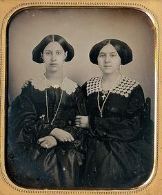 "TWO SISTERS, 1/6 PLATE DAGUERREOTYPE. Be-hold photographs: ""Collector's Joy."""