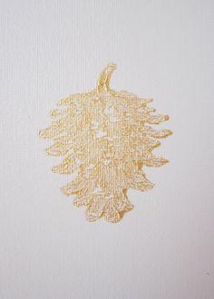 PINECONES Ivory and Gold Painting Handmade by ThreeColumnsStudio