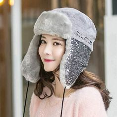 83046578f9169 Cat Embroidered bomber hat for women winter fleece ear flap hats with  sequins