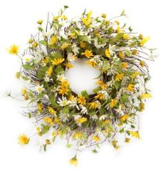 Shop Shasta Daisy Wreath Yellow and White on Twig Base by Melrose International : Floral Wreaths and Decor Twig Wreath, Fabric Wreath, Door Wreaths, Wreath Hanger, Boxwood Wreath, Burlap Wreaths, Shasta Daisies, Melrose International, Yellow Daisies