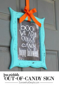 Out of Candy Sign Free Printable