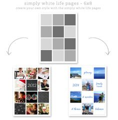 simply white life pages 6x8 photo book page template layouts and collages for scrapbooking, project life and digital project life ==> tracy-larsen.com/blog/shop