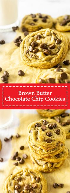 Meet the best brown butter chocolate chip cookies recipe you'll ever try -- promise! These easy brown butter chocolate chip cookies have the perfect texture and will be your new favorite cookie recipe and are always a hit. Plus, these brown butter chocolate chip cookies are even more delicious with a secret ingredient.  #brownbutterchocolatechipcookies #easychocolatechipcookies #brownbuttercookies #chocolatechipcookies #homemadechocolatechipcookies #bestchocolatechipcookies