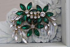 Bridal Hair Comb, Emerald Green