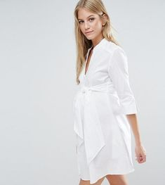 Isabella Oliver Longline Shirt Dress With Tie Waist. Love this cute maternity dress for spring, summer and fall. A Pregnancy dress for your first trimester until your due date. Cute Maternity Dresses, Maternity Shirt Dress, Stylish Maternity, Maternity Fashion, Maternity Clothing, Maternity Style, Shirtdress Outfit, Pregnancy Wardrobe, Pregnancy Outfits