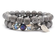 Wristbands & Bracelets – Set bracelets stone agate druse  – a unique product by Blackif on DaWanda