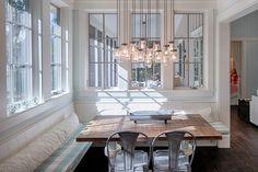 breakfast nook with mason jar chandelier