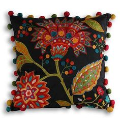 Paoletti Bengal Indian Floral Bestickter Kissenbezug, Multi, 43 x 43 cm - Cushions Mexican Embroidery, Hand Embroidery, Embroidery Designs, Burlap Pillows, Decorative Pillows, Throw Pillows, Embroidered Cushions, Felt Applique, Scatter Cushions