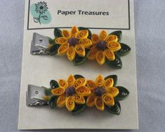 This beautiful Hair Clip set is decorated with quilled paper Sunflowers. The petals, center, and leaves are made from paper. The clips are 2 long and 1 wide. Paper Quilling Patterns, Quilled Paper Art, Paper Beads, Quilling Jewelry, Quilling Craft, Quilling Ideas, Paper Sunflowers, Quilling Techniques, Paper Strips