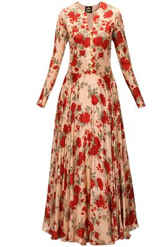 Powder pink and red floral print anarkali set available only at Pernia's Pop-Up…