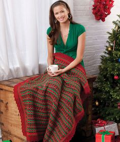 Holiday Striped Throw Free Crochet Pattern from Red Heart Yarns