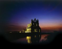 Hahnemuhle PHOTO RAG Fine Art Paper (other products available) - WHITBY ABBEY, North Yorkshire. A floodlit view of the abbey at night with reflection in the water. - Image supplied by Historic England - Fine Art Print on Paper made in the UK Yorkshire England, North Yorkshire, Yorkshire Dales, Whitby Abbey, English Heritage, Religious Architecture, Seaside Towns, After Dark