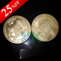 The year of 2016 Monkey Gold Plated Coins.One of Chinese 12 zodiac commemorative coin
