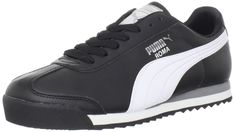 PUMA Men's Roma Basic Fashion Sneaker, Black/White/Silver - 10 D(M) US: PUMA  serves up a laid-back retro classic with this sleek sneaker.