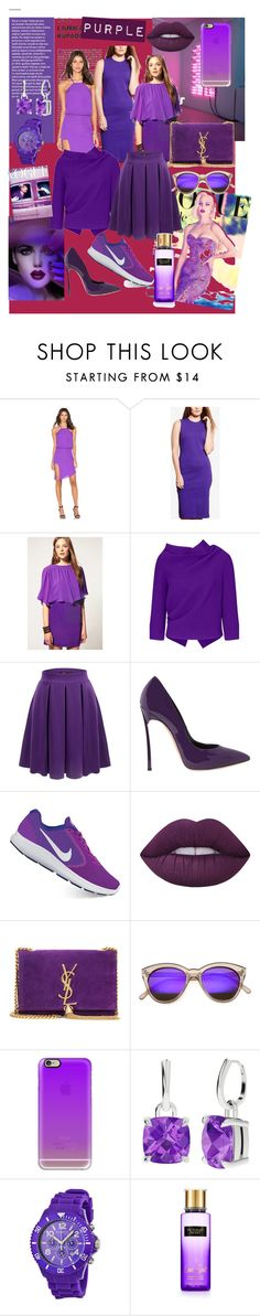 """PURPLE"" by luthfiyyah-rachmawati on Polyvore featuring Michelle Mason, Lauren Ralph Lauren, Roland Mouret, Doublju, Casadei, NIKE, Lime Crime, Yves Saint Laurent, ZeroUV and Casetify"