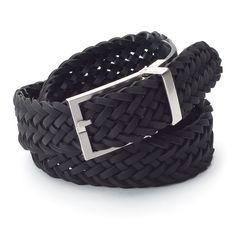 Men's Chaps Tonal Reversible Braided Belt, Black