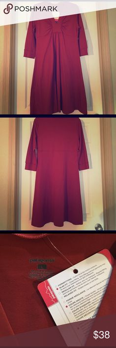 Patagonia Respite dress Great for travel, wrinkle resistant, stretch and comfortable.  Slim fit size large. This is a nylon/spandex blend.  Great for getting wet also! The dress is a rusty orange brick color. Brand new with tags. Patagonia Dresses