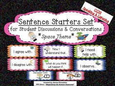 Motivate & structure the discussions & conversations in your classroom, as well as writing! Includes rules, lists, & 12 Sentence Starter Cards with labels in a fun space theme. Aligns-CCSS Speaking & Listening Standards! Includes Discussion Rules & a printable list for student notebooks & anchor charts! Includes a set of blank cards to customize to your needs! $ #teacherspayteacher #science #teaching #elementary #MagnifyingtheScienceClassroom #literacy #CCSS