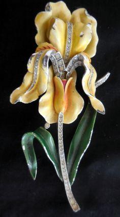 Alfred Philippe Trifari Enamel Rhinestone Orchid flower pin