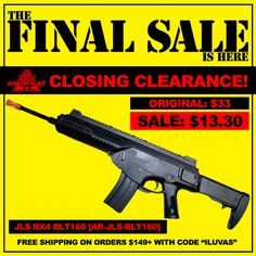 $14 JLS Rx4 at AirSplat! Everything must go! http://www.airsplat.com/jls-rx4-blt160-spring-airsoft-rifle.html   ----------  The FINAL Sale at AirSplat is here with our Closing Clearance and we guarantee the LOWEST airsoft prices on the market! http://www.airsplat.com/nsearch/?q=The+Final+Airsoft+Sale#/?keywords=The+Final+Airsoft+Sale&search_return=all&Stockstatus=1  ----------  YouTube: https://www.youtube.com/user/AirSplatcom Tumblr: http://airsplatcom.tumblr.com/