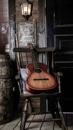 Old Guitar On Chair #iPhone #6 #plus #wallpaper
