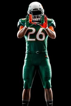 0efe69a6acc656 Miami Hurricanes New Football Uniforms 2014: Green 'Surge' College Football  Gloves, Miami