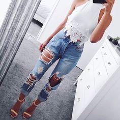 white lace trim halter + ripped boyfriend jeans