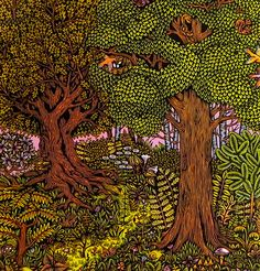 """FOREST"""" Life of Leisure Series16"""" x 20 """" Color Woodcut Print on Heavyweight Ivory Somerset Paper  Paul Roden + Valerie Lueth, 2010."""