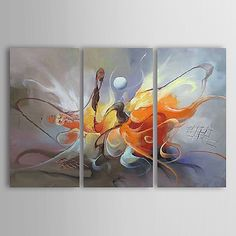 Oil Painting Hand Painted - Abstract Canvas Three Panels 2018 - R$346.68