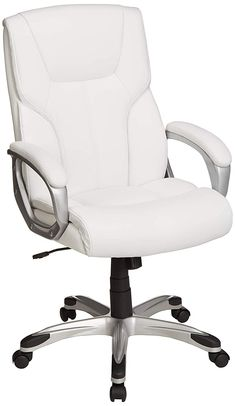 High-Back Executive Swivel Office Desk Chair, 5 wheels, Fully Adjustable, keep your back supported and your body properly aligned, Bonded leather and PVC. Office Chair Wheels, Best Office Chair, Swivel Office Chair, Ergonomic Office Chair, Office Desk, Office Chairs, White Desk Chair, White Chairs, Drafting Chair